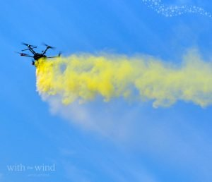 Drone scattering serviceWith The Wind can combine cremated ashes with environmentally-friendly coloured powders for a spectacular memorial.