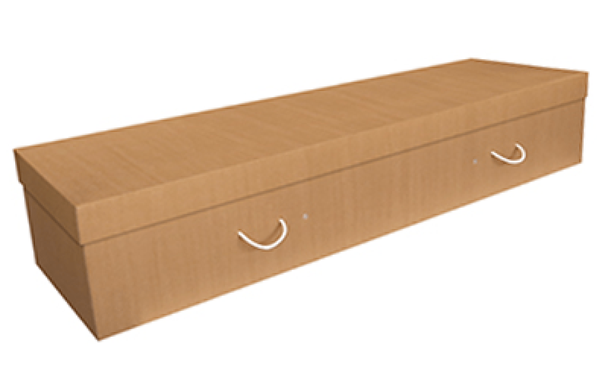 To keep the cost of a coffin down, Bare Cremation uses bioboard caskets - a type of cardboard coffin.