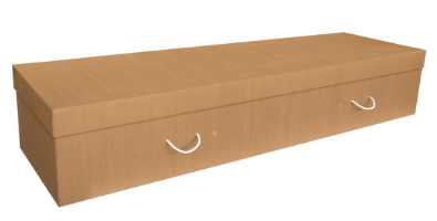 Cardboard coffins are made from recycled cardboard.
