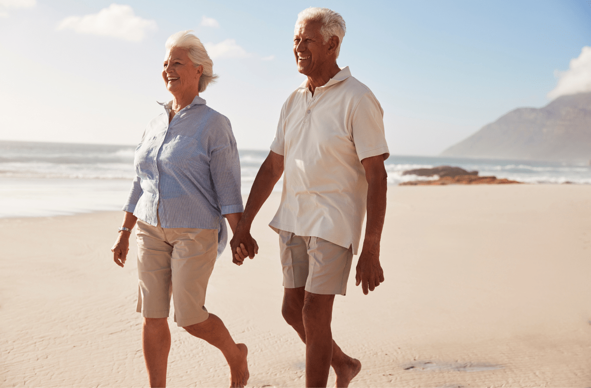 An easy walk along the beach or park can be quite therapeutic for people with dementia.