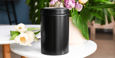 An urn used for a cremation