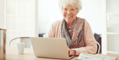 Senior woman making a will online