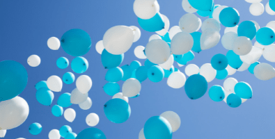 Helium balloons released in the sky